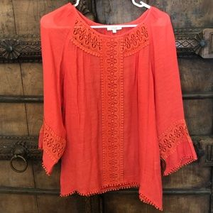 🌺Anthro Pom Pom Crotchet Coral Blouse👒